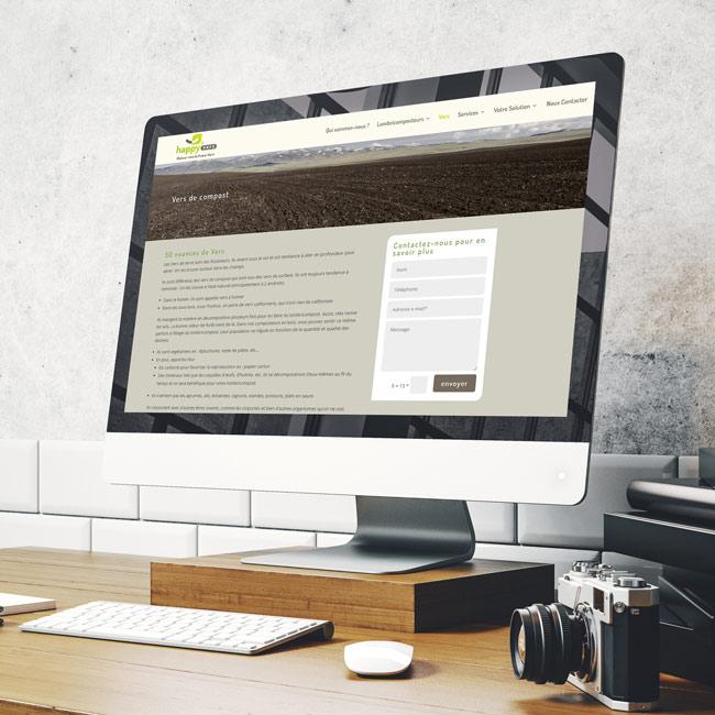 Ordinateur présentant le site internet de création de lombricomposteur